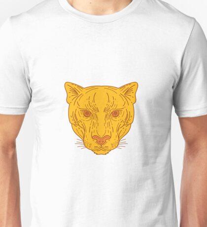 Cougar Mountain Lion Head Mono Line Unisex T-Shirt