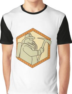 Fireman Holding Fire Axe Shield Mono Line Graphic T-Shirt