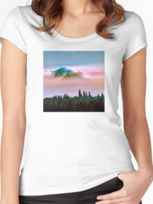 Mountains - Mt. Hood Pink Sunset Women's Fitted Scoop T-Shirt