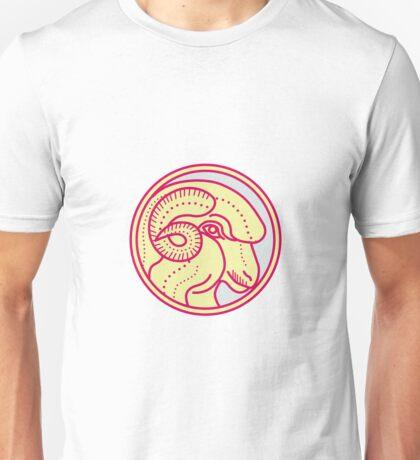 Merino Ram Sheep Head Circle Mono Line Unisex T-Shirt