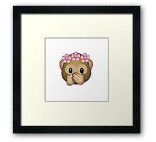 Emoji Monkey Flower Crown Edit Framed Print