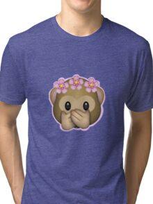 Emoji Monkey Flower Crown Edit Tri-blend T-Shirt