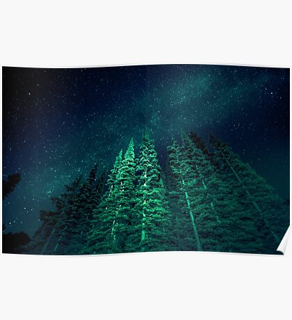 Nature Forest - Night Star Signal Poster
