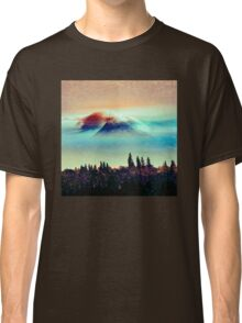 Mountains - Vintage Foggy Mt. Hood Classic T-Shirt