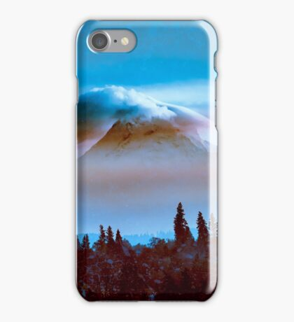 Mountains - Cloudy Blue Mt. Hood iPhone Case/Skin