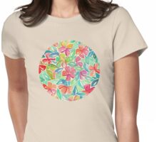 Tropical Floral Watercolor Painting Womens Fitted T-Shirt