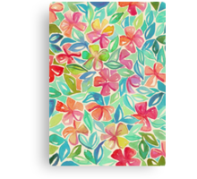 Tropical Floral Watercolor Painting Canvas Print