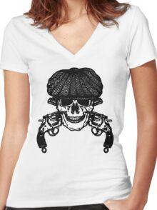 Gun Skull Peaky Blinders shirt for Fans Women's Fitted V-Neck T-Shirt