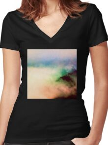 Mountains - Fog Mountain Magick Women's Fitted V-Neck T-Shirt