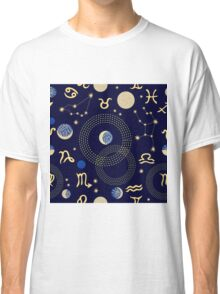 Zodiac sky. Abstract seamless vector pattern with constellations, crescent moon, circles and zodiac signs. Classic T-Shirt