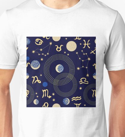 Zodiac sky. Abstract seamless vector pattern with constellations, crescent moon, circles and zodiac signs. Unisex T-Shirt