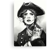 Lady & Cat Canvas Print