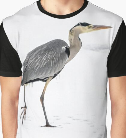 Great Blue Heron in snow snd ice Graphic T-Shirt