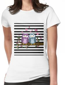 Valentines day owls  Womens Fitted T-Shirt