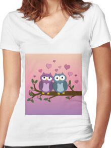 Owls in love Women's Fitted V-Neck T-Shirt