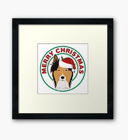Merry Christmas Collie Dog Framed Print