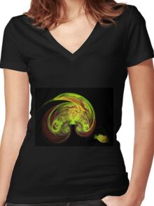 Bird and fish, fractal Women's Fitted V-Neck T-Shirt