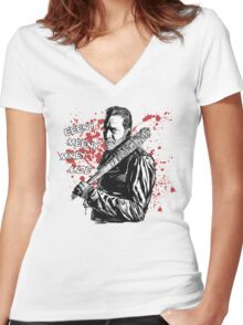 Negan - Eeeny Meeny Women's Fitted V-Neck T-Shirt