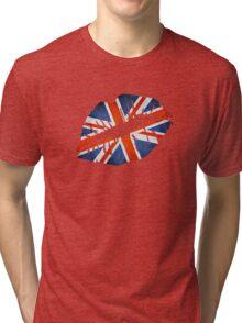 United Kingdom Flag Lips Tri-blend T-Shirt