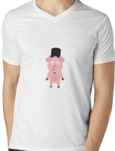 Groom Pig with Hat and bow tie Mens V-Neck T-Shirt