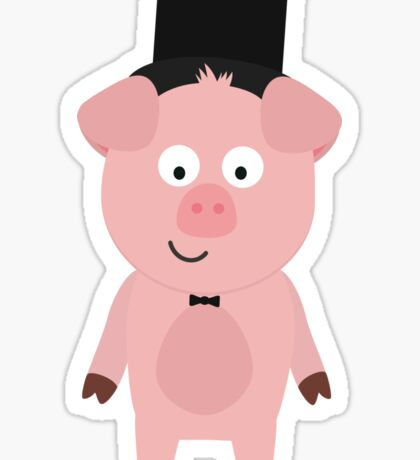 Groom Pig with Hat and bow tie Sticker