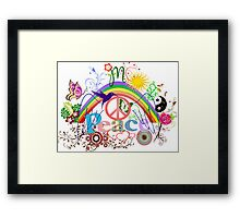 Peace - Colorful Mash-up Framed Print