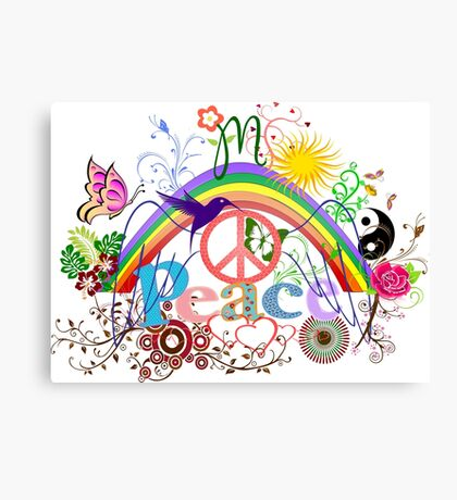 Peace - Colorful Mash-up Canvas Print