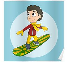 Snowboarding boy cartoon Poster