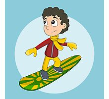 Snowboarding boy cartoon Photographic Print