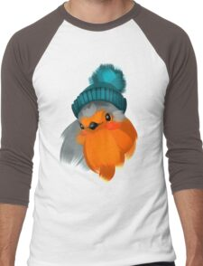 Cute robin bird in a winter knitted hat. Men's Baseball ¾ T-Shirt