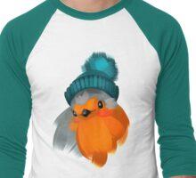 Cute robin bird in a winter knitted hat. Men's Baseball ¾ T-Shirt