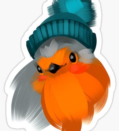 Cute robin bird in a winter knitted hat. Sticker