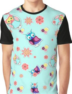 Owls and Patterns Graphic T-Shirt