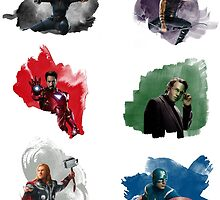 The Avengers + Watercolours by redroseses