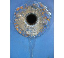 Blue rusty hole Photographic Print