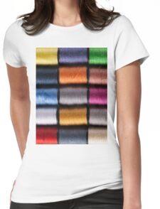 Colorful cotton reels lined up in a row Womens Fitted T-Shirt
