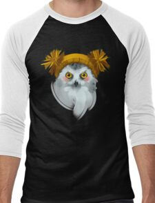 Cute owl bird in a winter knitted hat. Men's Baseball ¾ T-Shirt
