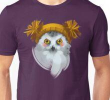 Cute owl bird in a winter knitted hat. Unisex T-Shirt