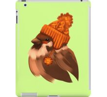 Cute sparrow bird in a winter knitted hat. iPad Case/Skin