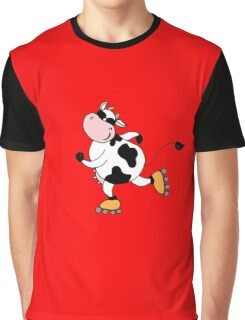 Cute smile cow on roller Graphic T-Shirt