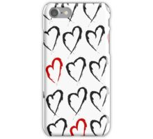 Hearts pattern created in grunge style iPhone Case/Skin