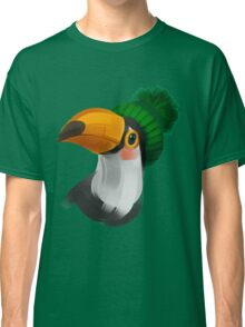Cute toucan bird in a winter knitted hat Classic T-Shirt