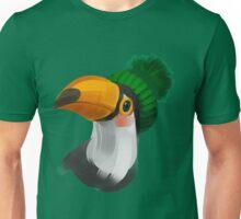 Cute toucan bird in a winter knitted hat Unisex T-Shirt