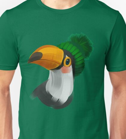Cute toucan bird in a winter knitted hat Unisex T-Shirt