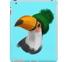 Cute toucan bird in a winter knitted hat iPad Case/Skin