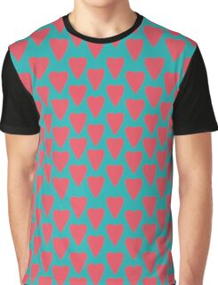 Pink heart on retro turquoise background Graphic T-Shirt