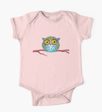 Funny blue owl with the yellow eyes One Piece - Short Sleeve