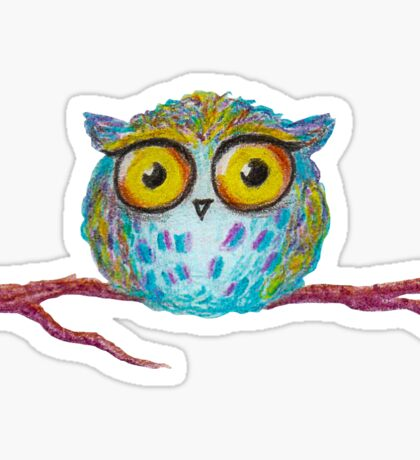 Funny blue owl with the yellow eyes Sticker