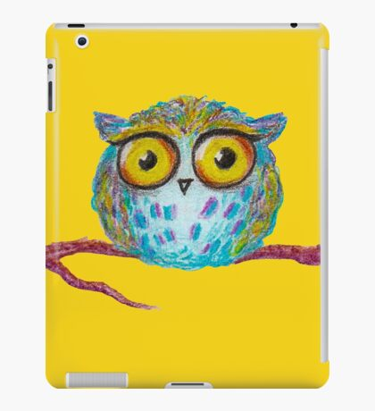Funny blue owl with the yellow eyes iPad Case/Skin
