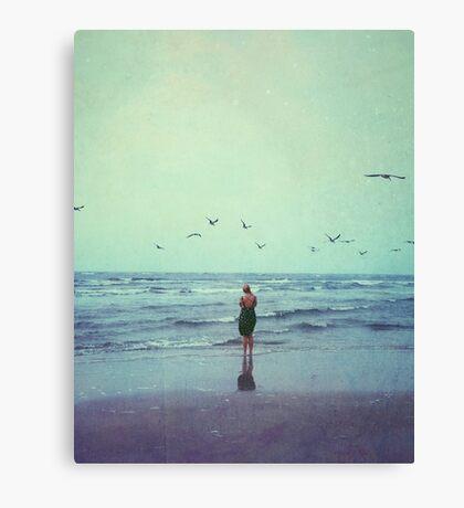 Woman at the Sea Shore Canvas Print